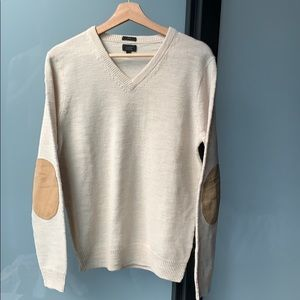 V neck merino wool sweater with elbow patches
